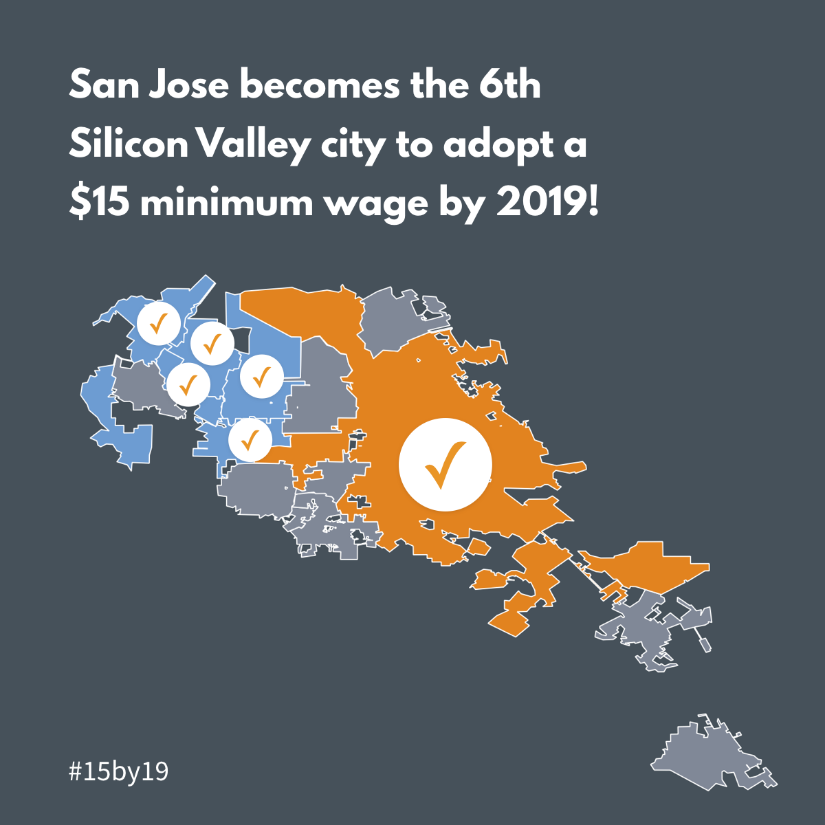 San Jose becomes the 6th Silicon Valley city to adopt a $15 minimum wage by 2019!