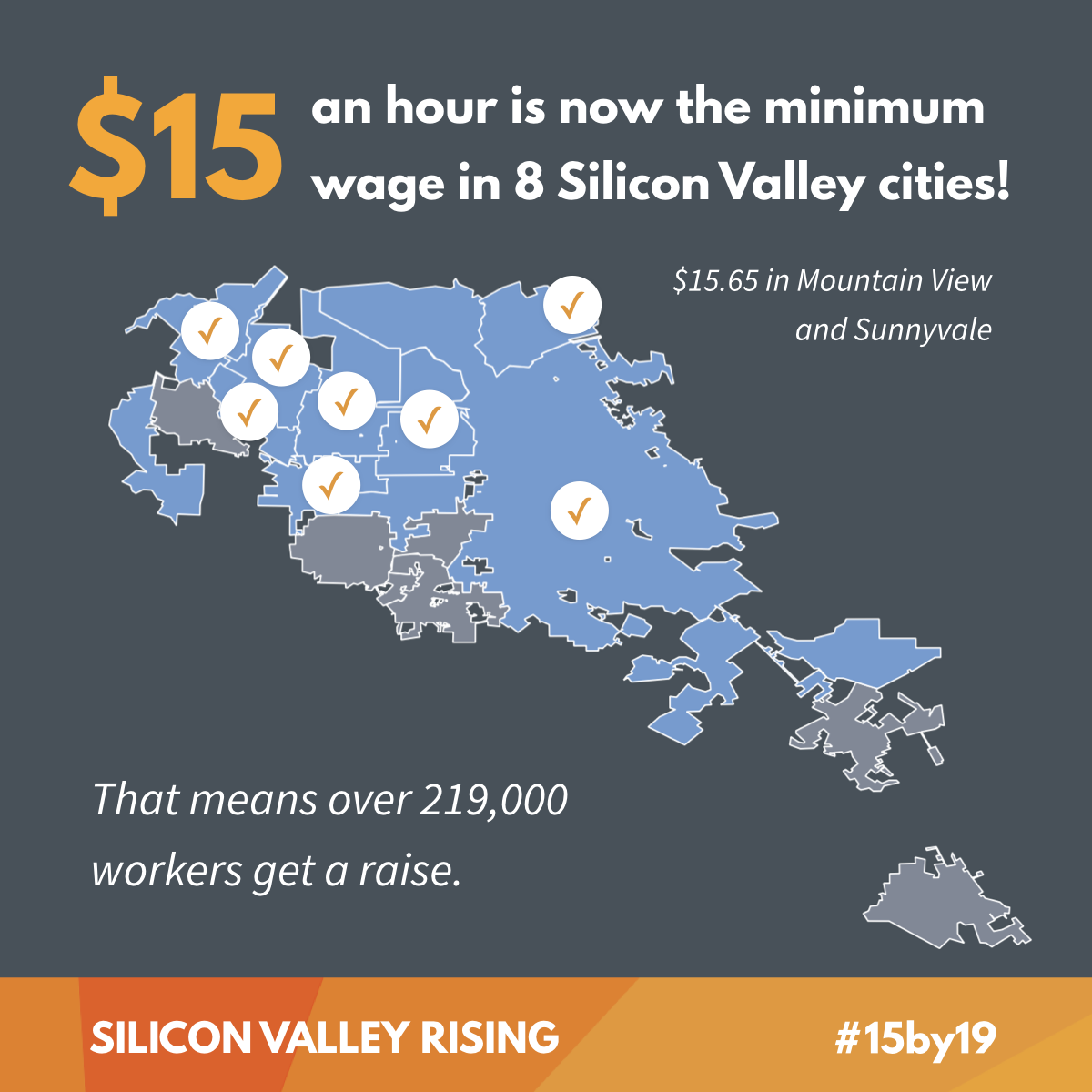 $15 an hour is now the minimum wage in 8 Silicon Valley cities!